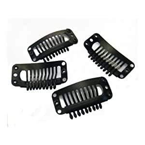 Clip for hair extension & Wig, 30mm, snap clip for DIY use, black 20pcs
