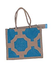 ABV Jute Lunch Bag ,Small Size, Blue Color