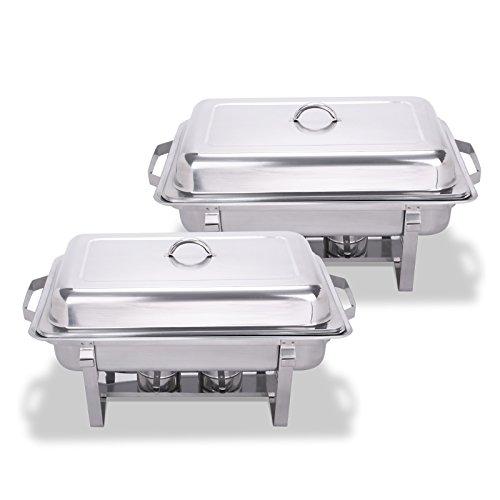 Mophorn Chafing Dish 65 mm 8tlg Chafing Dish Set 2er Set Warmhaltebehälter Buffett Speisenwärmer GN Behälter aus Edelstahl (2er Set)