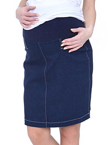 Mija - Denim Jeans Bleistiftrock Umstandsrock 1015 (36, Blau)