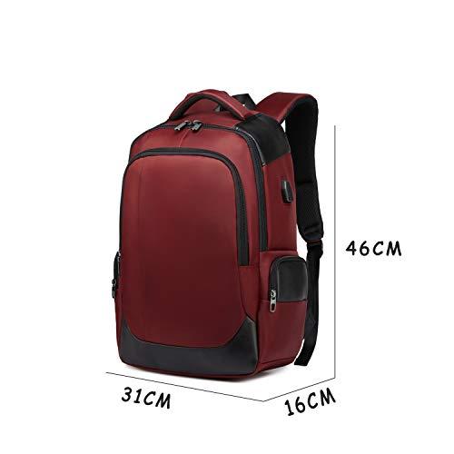 DONZ Herren Damen Laptop Rucksack Schulrucksack Canvas 15.6 Zoll Laptoprucksack Business Backpack Daypack Reiserucksack mit USB-Ladeanschluss,Red
