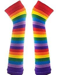 Très Chic Mayo Landa Mujer Mano Sirven arco iris rayas sin dedos de punto Mangas