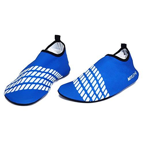 kasit Unisexe Barefoot Chaussures peau d'eau pour bain de plage Surf Yoga d'exercice Bleu