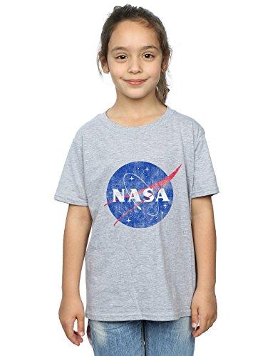 Absolute Cult NASA Niñas Classic Insignia Logo Distressed Camiseta Deporte Gris 9-11...
