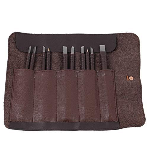 Carving Meißel-Set, Satz von 10 Stück, Speckstein-Meißel Carving-Set, Carving Messer Meißel Handwerkzeuge mit tragbaren Leder Rolltasche - Holz-messer Personalisierte