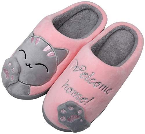 Mishansha Zapatillas de Estar por Casa Mujer Invierno Zapatillas de Interior Calientes Dibujos Animados Gato Dormitorio Zapatos de Piso, Cat-Rosa, 37/38 EU=38/39 CN