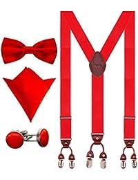 Aissy Hosenträger für Herren 3.5cm Y-Form Elastisch und Längenverstellbar Hosenträger Breit mit 6 starken Clips und Fliege & Einsteckuch