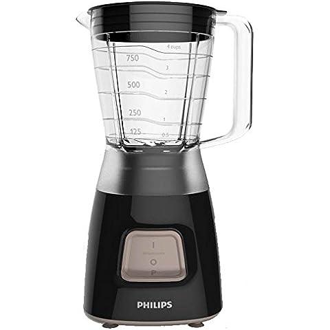 Philips Daily Collection HR2052/90 Batidora de vaso Negro 1.25L 350W - Licuadora (De plástico, Acero inoxidable)