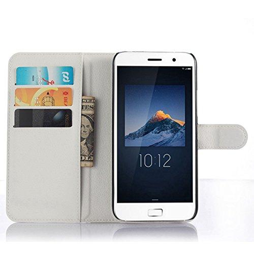 Tasche für Lenovo ZUK Z1 Hülle, Ycloud PU Ledertasche Flip Cover Wallet Case Handyhülle mit Stand Function Credit Card Slots Bookstyle Purse Design weiß