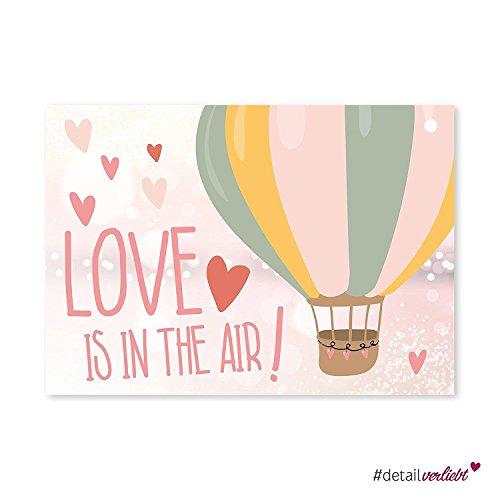 50 Luftballon-Karten Love is in the air I dv_165 I DIN A6 I Set extra leicht Ballon-Flugkarten Wunschkarte rosa Herz für Luftballons Hochzeit