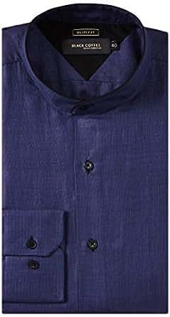 Black Coffee Men's Slim Fit Shirt (Navy Blue) (11110001345090)