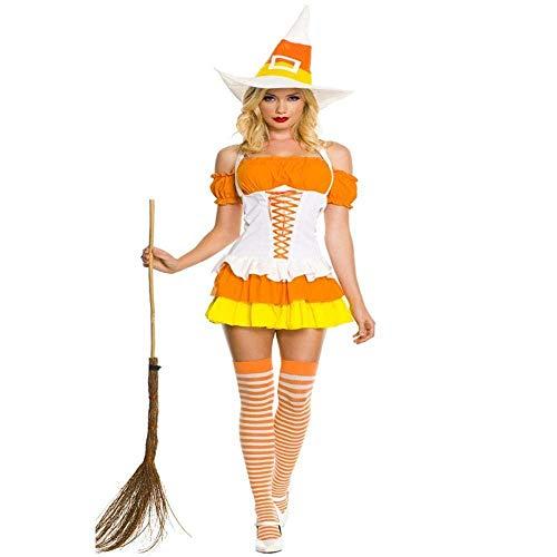 Fashion-Cos1 Halloween Magie Hexe Uniform Kostüm Für Frauen Erwachsene Fantasie Langes Kleid Hut Cosplay Teufel Kleidung Für Frau Maskerade Rollenspiel Uniform (Alte Kostüm Frau Make-up)