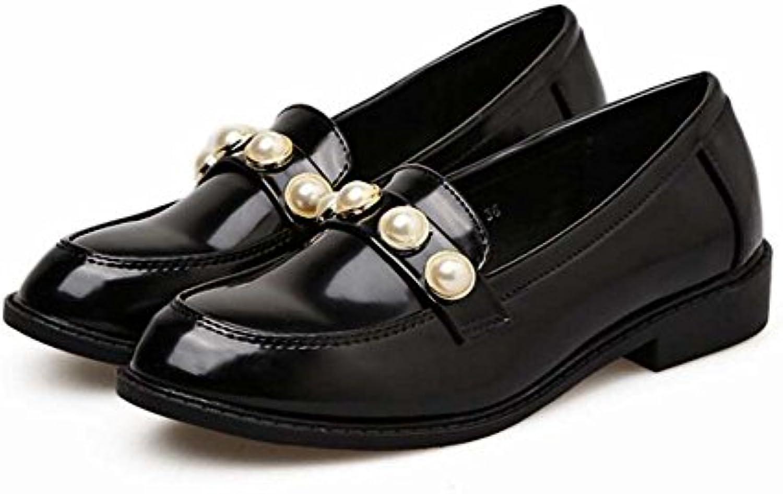 52da20817cccc1 Femmes Pompe 2.5 cm cm cm Chunkly Talon Bout Rond Ballerine Flats Mocassins  Simple Couleur Pure Style Britannique Perle...B078NV7NT3Parent | Choix Des  ...
