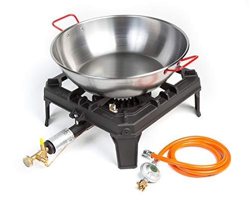4 Fuss Hockerkocher - Gaskocher 8,8 KW mit Zündsicherung + Stahlpfanne 40 cm + Gasschlauch und Druckminderer (Gusseisen Wokbrenner Asia Kocher, Gastrokocher, Gasherd, Campingkocher für Wok)
