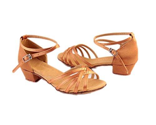 ELE GENS Damen Mädchen Satin Tanzschuhe Standard Latein Ballsaal Salsa Schuhe Tango (29, Braun)