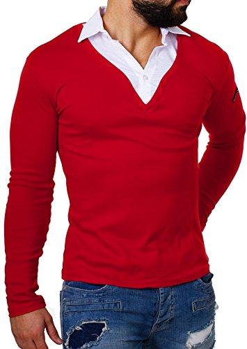 ReRock Herren 2in1 Longsleeve Hemd Kragen Shirt Pullover Langarm mit Tiefem V-Ausschnitt Einfarbig Slimfit Stretch, Grösse:M;Farbe:Rot (Hemd Kragen-größe)