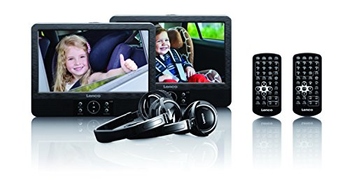"""Lenco DVP-939 2 x 9"""" (22,5 cm) DVD-Player mit Bildschirm, 2x Kopfhörer, USB, SD/MMC, 2x Fernbedienung, 2x Kopfstützenbefestigung, 2x Netzadapter, schwarz (Dvd-player-fernbedienung)"""
