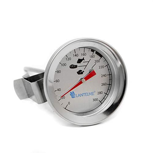 Lantelme Edelstahl Fritteusen Öl Fett Thermometer 300 °C Fritteusenthermometer mit Clip Bimetall Analog 2327 -