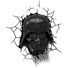 Luz de noche niños LED – Lámpara Star Wars mascára Darth Vader – 3D Light FX - Luz de pared con minutero y pegatina de pared – Funciona con Pilas