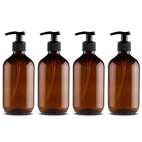 500 ml PET-Lotionsflasche Shampooflasche 4er-Pack leere bernsteinfarbene Kunststoffpumpflaschen,nachfüllbare Lotionsflüssigseifenpumpe Braune Flaschen für ätherische Öle, Reinigungsprodukte,Lotionen