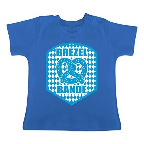 Oktoberfest Baby - Brezelbande mit bayrischem Muster - 3-6 Monate - Royalblau - BZ02 - Baby T-Shirt Kurzarm