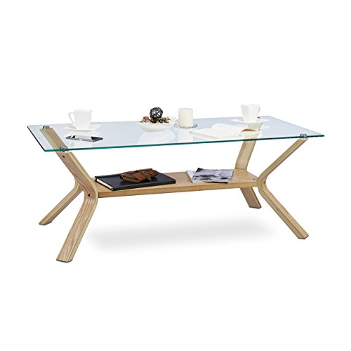 Relaxdays Table basse plateau en verre 120 x 60 cm et bois rectangle table de salon chêne 45 cm de hauteur design moderne, nature