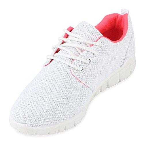 Chaussures de course femme course sport chaussures en plusieurs couleurs, 36 Weiss Neonpink