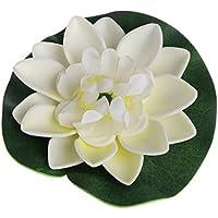 GROOMY Flores Secas, Flor Flotante Artificial Falsa Lotus Water Lily Plant Garden Tank Estanque Decoración - Blanco Lechoso