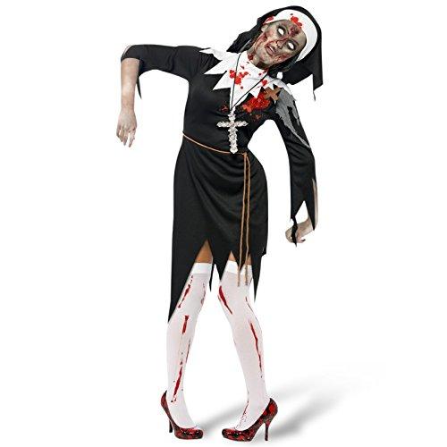 (Halloween Damen Kostüm Zombie Schwester Mary Nonne blutig Größe M)