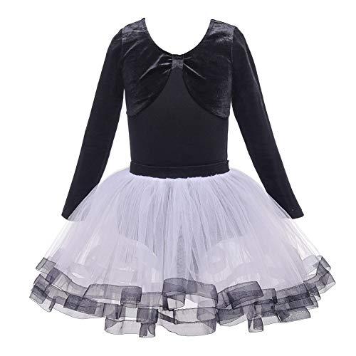 Kostüm Biketard Schwarz Tanz - Shiningbaby Balletttanzkleid Mädchen Gym Trikot Netzrock Bogen-Knoten Langarm Bodysuit Kostüme für Alter 3-12 Jahre alt