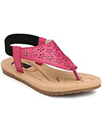 Rimezs Pink Flat Daily Wear Casual Flat Sandal For Women And Girls