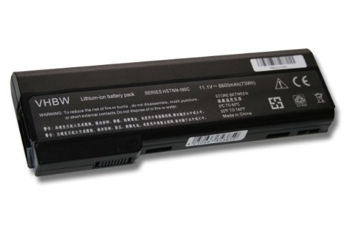 vhbw Li-Ion Akku 6600mAh (11.1V) für Notebook Laptop HP ProBook 6360b, 6460b,...