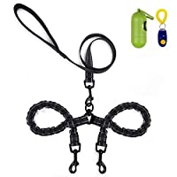 U-picks Double Dog Lead,Dual Pet Dog Lead Reflective Bungee Absorb Shock 360° No Tangle for Two Dog Walking/Training with Extra Dog Trainer and Garbage Bag&Collector for Small Dog
