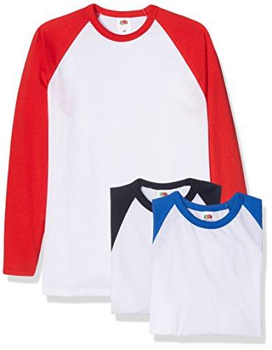 Fruit of the Loom Herren Baseball Classic Long Sleeve T-Shirt, Weiß (Whitenavy/whitered/whiteroyal WE/WM/AW), L (3er Pack)