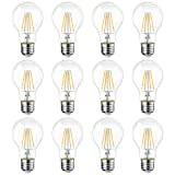 8W E27 Filament LED Glühfaden A60, 2700K Warmweiß, Ersatz für 60W Glühlampe, ultrahell 800 lm, Rustikalampe in Kolbenform, Filamentstil klar (12er Pack) - LVWIT