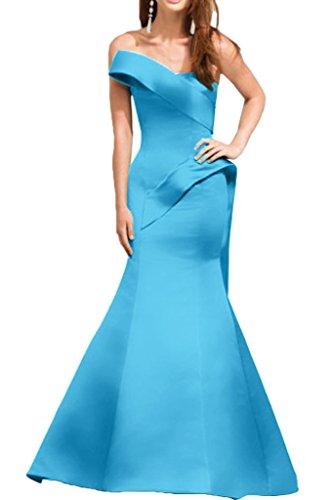 Sunvary Damen V-Neck Chiffon Kurzarm Blumen Abendkleider Lang Ballkleider Partykleid Blau