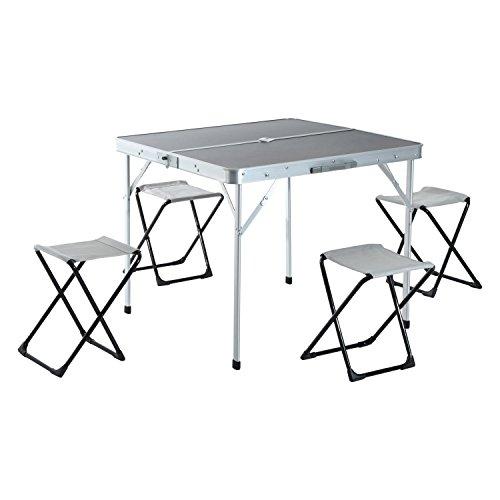 Mesa de Camping Plegable con 4 Sillas de Aluminio con Agujero de Parasol para Picnic, Jardín o Terraza