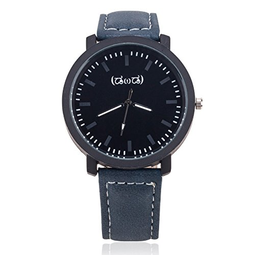 Smileyes Damenuhr Leder Armband Kupfer Armbanduhr Quarz Analog Uhr #TSW013G.01A (Herren-leder-kupfer-armband)