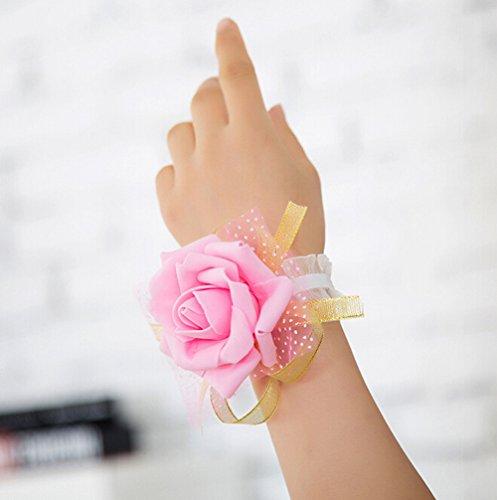 Westeng, bouquet da polso per sposa o damigella, per matrimonio o ballo, con motivo floreale e nastro, 3pezzi, pink, taglia unica