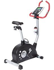 Ultrasport Heimtrainer Racer 600 mit Handpuls-Sensoren / Ergometer mit Computer und 12 Programmen mit 16 Widerstandsstufen – Fahrradtrainer inklusive Trinkflasche für Fitness- und Ausdauertraining