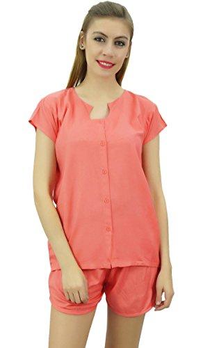 Bimba Frauen Pfirsich Button Pj 2- Teiliges Set Shirt Und Shorts Nacht Kleid - 36 (Button-down-pj)