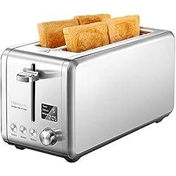 Willsence Grille Pain LCD écran, 4 Tranches Toaster de 1500 W, 9 Niveaux de Brunisage Réglable, Fonction Annuler/Décongeler/Réchauffer et Ramasse Miettes Amovible, Inox