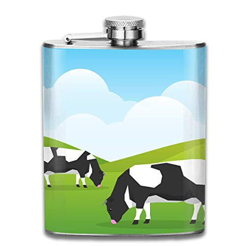 FGRYGF Edelstahlflasche Cows Graze in A Good Sunny Fashion Portable Stainless Steel Flachmann Whiskey Bottle for Men and Women 7 Oz