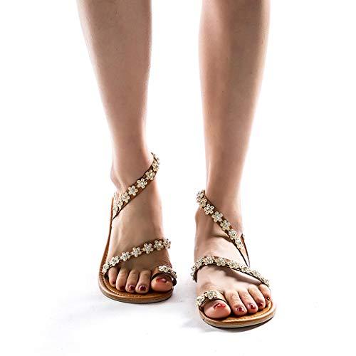 Rcool Sandali Estivi Donna Eleganti Scarpe da Donna Cristallo Pantofole Spiaggia Sandali Donna Tacco Basso,Sandali Donna Bassi Estivi,Roman Sandals Scarpe Basse Donna, (43 EU, Brown)