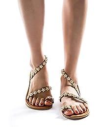 5561a356e0 BeautyTop Damen Sommer Zehenring Sandaletten Flach Strand Sandalen  Nationaler Stil Outdoor Sandale Frauen Wohnungen Schuhe Mode…
