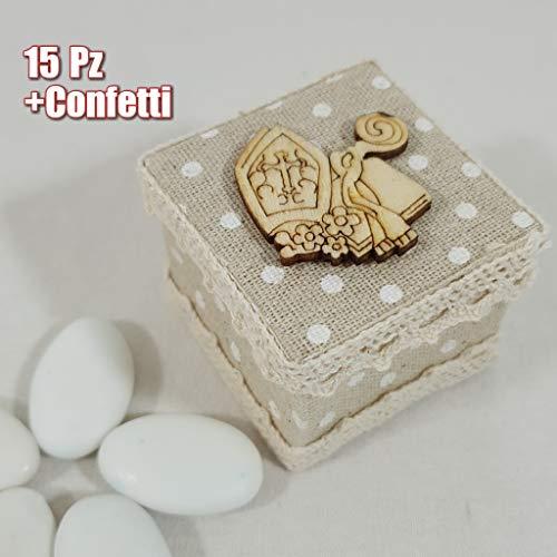 Sindy bomboniere scatoline in stoffa per confetti cresima idee economiche ingrosso completa di confetti o senza (15 scatoline con confetti)