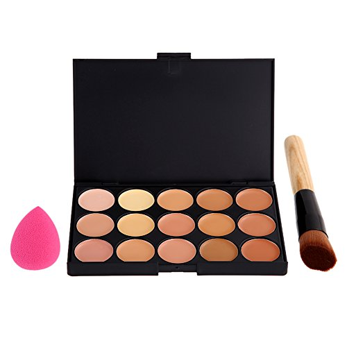 Vktech® 2# 15 Couleurs de Palette de Maquillage Cosmétique / Anti-cerne et Fond de Teint + Pinceaux Maquillage + Houppe à Poudre - pour Salon Professionnel, Mariage, Fête, Utilisation à Domicile etc.