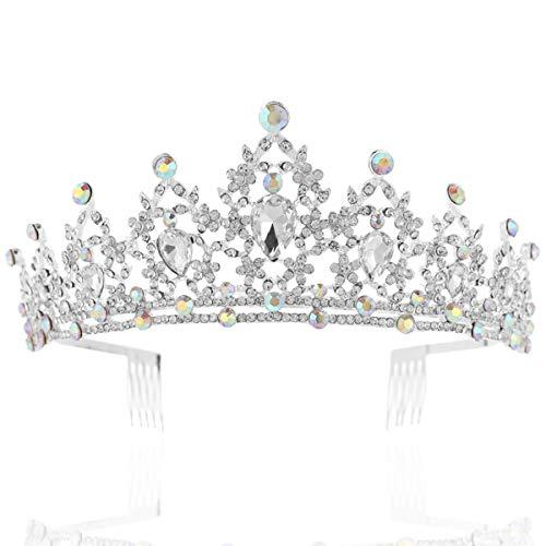 Kristall Prinzessin Kostüm - Coucoland Braut Tiara Hochzeit Krone Luxus Prinzessin Diadem Kristall Geburtstag Krone Damen Kostüm Accessoires (Stil 1 - Silber)