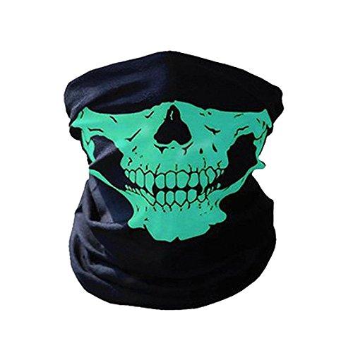 Winter 3D Totenkopf Sport Maske Winddicht Fahrrad Maske nahtlos Motorrad Face Maske Outdoor Maske Sport mit Kopfbedeckungen, grün