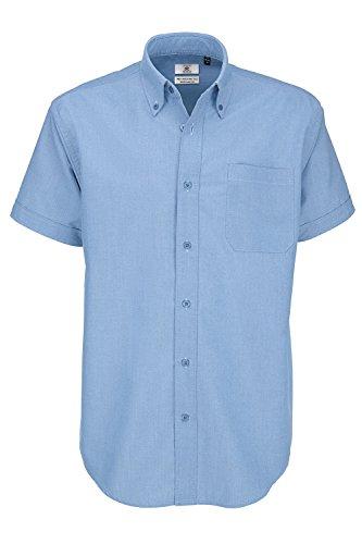 B&C Oxford Hemd für Männer, kurzarm (XL) (Oxford Blau) XL,Oxford Blau (Casual-oxford-hemden)